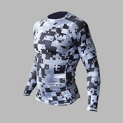 MEN SKIN COOLER SDS LONG SLEEVE WITH ICE POCKETS GERY PRINT