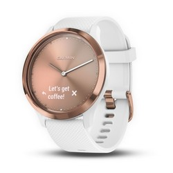 vívomove™ HR Rose gold with White Silicone Band